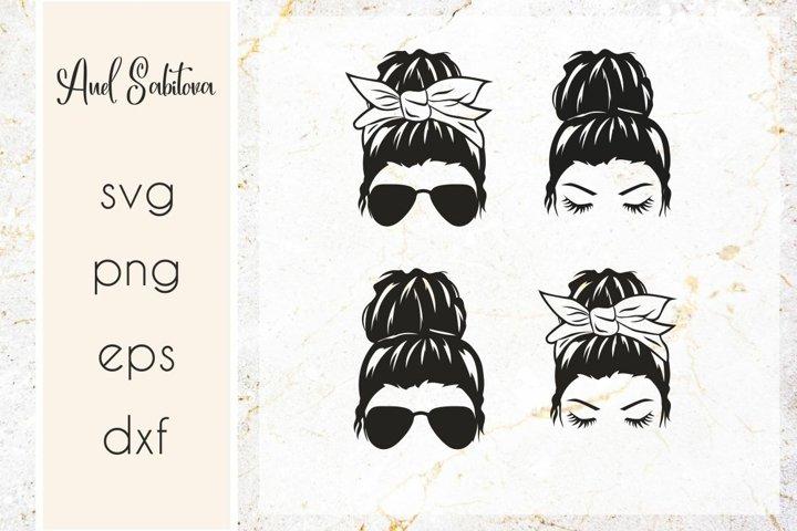Messy Bun SVG, Girl with messy bun and sunglasses svg