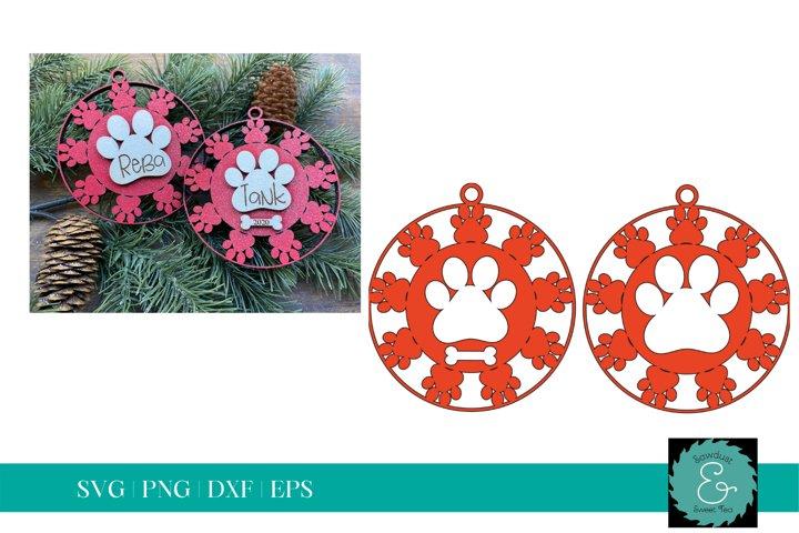 Paw Print SVG, Dog Ornament SVG, Dog SVG, Laser Paw Print