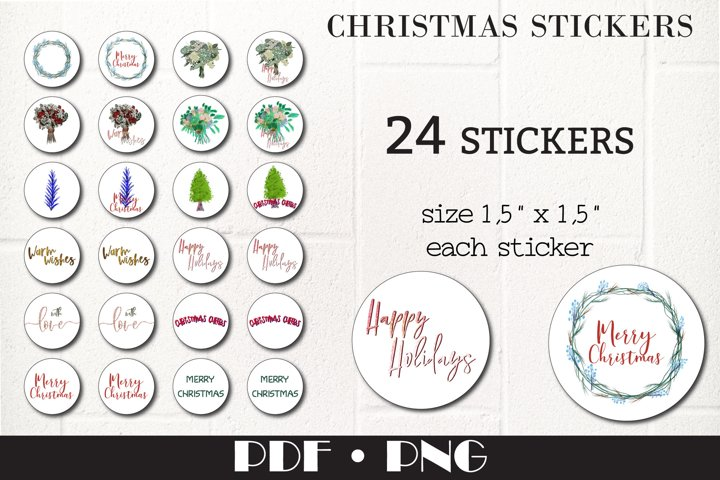 Christmas kisses round stickers