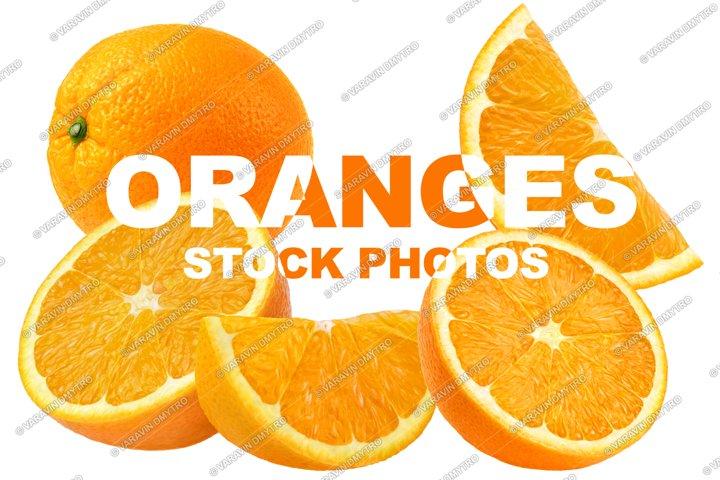 Oranges isolated on white. 4 stock photos.