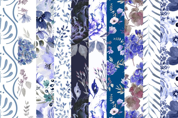 10 Blue Digital Floral Papers Set
