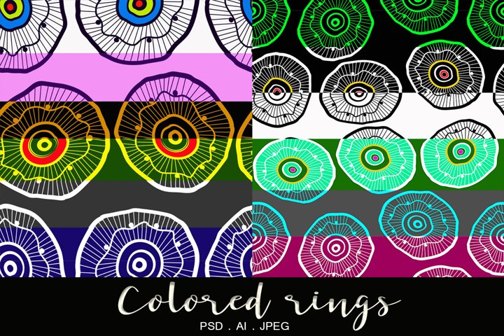 Set of prints of colored concentric rings