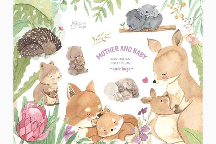 Australian animals clipart. Watercolor mother and baby.