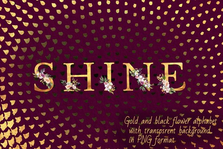 Gold flower alphabet