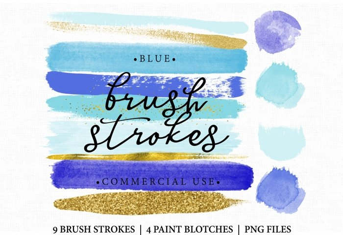 Blue Brush Stroke Clip art. Brush Strokes Blue and gold. Digital brush strokes and paint blotches 13 altogether
