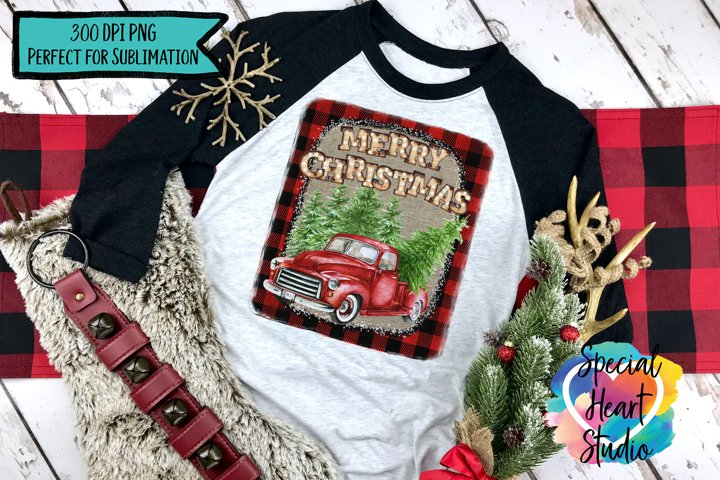 Buffalo Plaid Burlap Red Truck - Christmas Sublimation