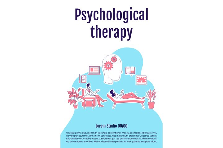 Psychological therapy poster flat silhouette vector template