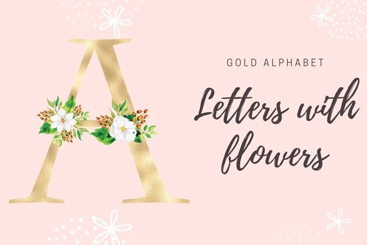 Gold foil alphabet with white flowers, Floral alphabet