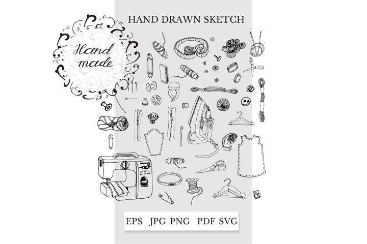 Sewing clipart. Hand drawn sewing items. Simple logo design.
