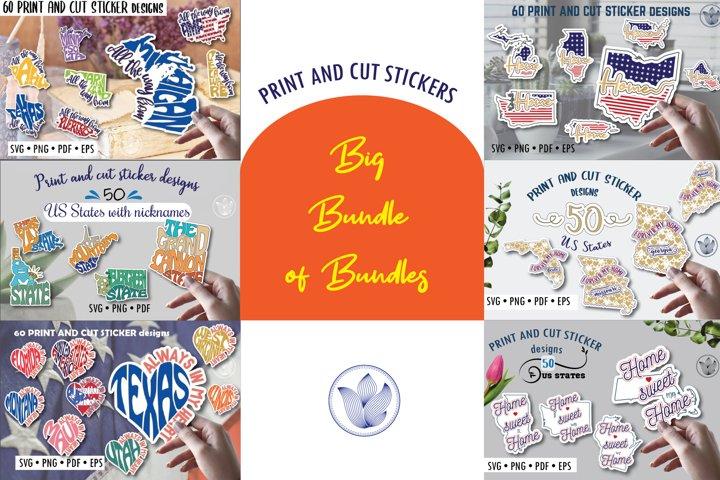 Big bundle of bundles, Print and cut svg stickers, US states