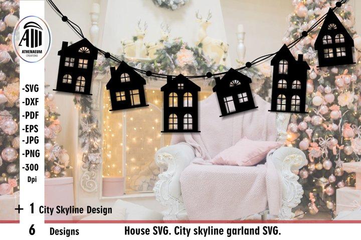 House silhouette svg. City skyline cut file. House svg.