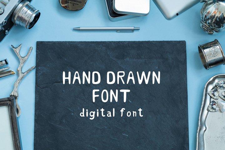 Hand Drawn Font. Handwritten Font. Digital Font