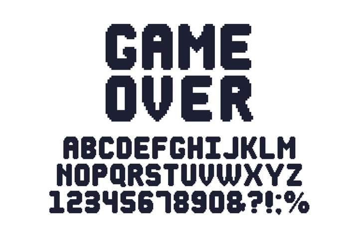 Computer 8 bit game font. Retro video games pixel alphabet,