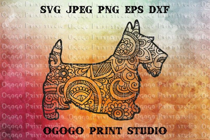 Scottish Terrier Svg, Mandala SVG, Zentangle svg, Pet love