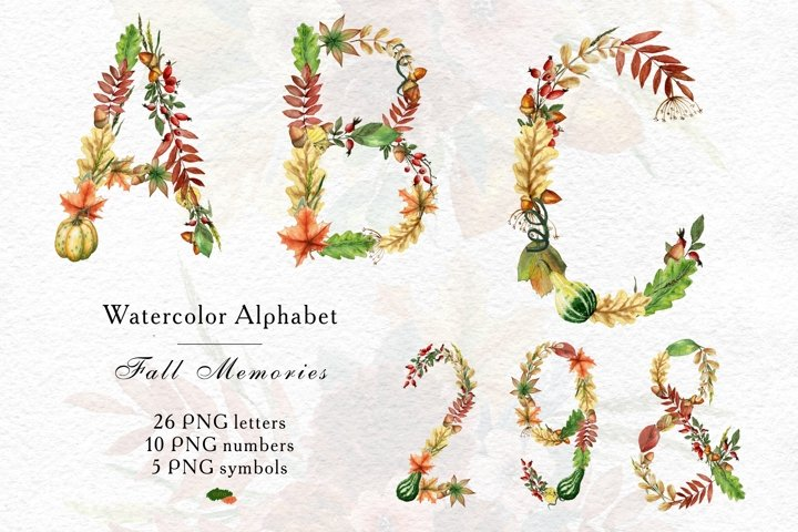 Watercolor Autumn Alphabet PNG, Fall Pumpkin and leaves