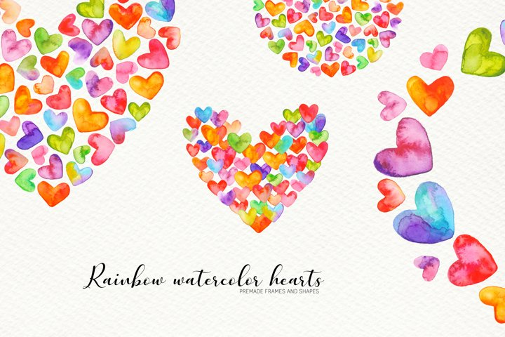 Watercolor Hearts. PNG Shapes and Frames