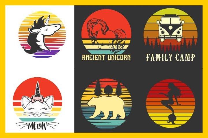vintage sunset retro t-shirt designs, unicorn cat bear svg