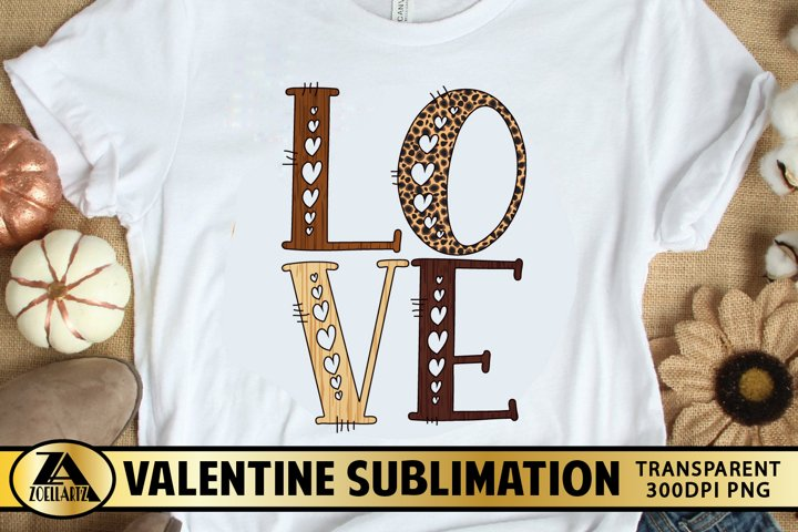 Valentine Sublimation PNG Love Heart Leopard Print PNG