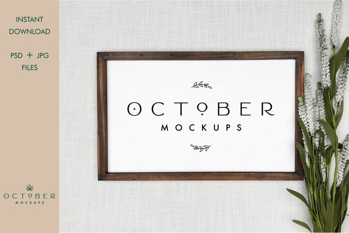 Wooden Frame Mockup in PSD and JPG   Wedding sign mockup