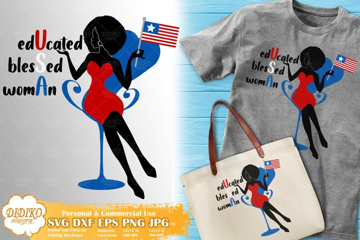 Black Woman 4th of July SVG | Afro Woman SVG | American Flag