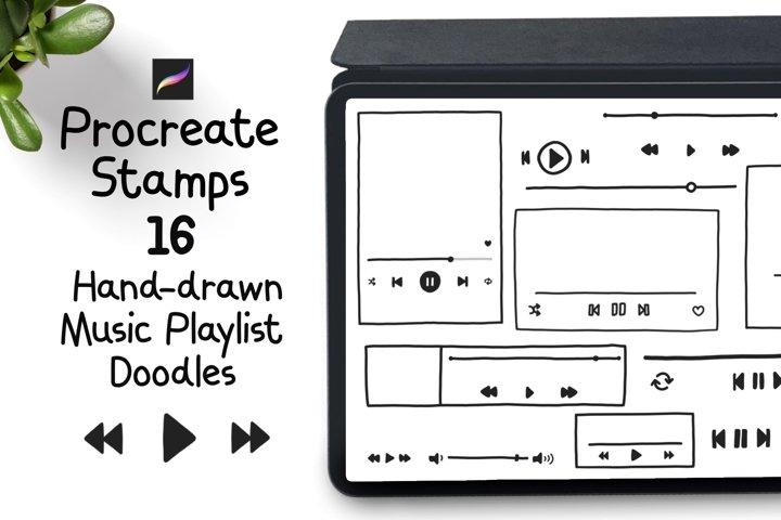 Procreate Stamps 16 hand drawn Music Playlist