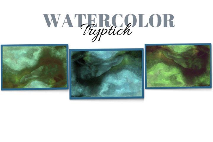 Liquid watercolor abstract wall art. Triptych Lodge wall art