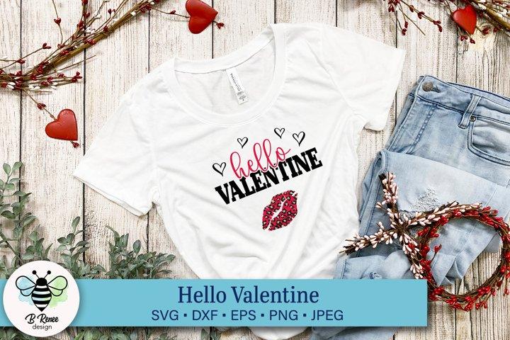Hello Valentine SVG with Leopard Print Lips