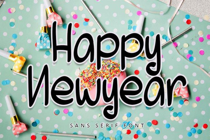 Happy Newyear - Cute Sans Serif Font