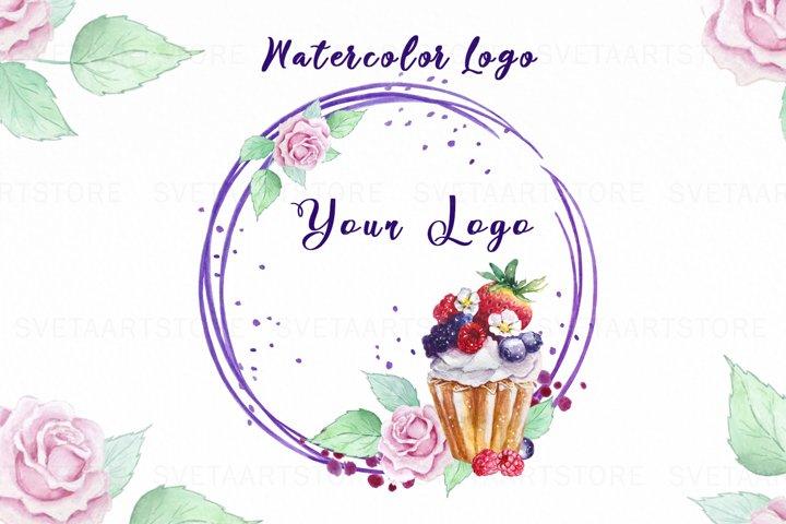 Watercolor Logo, Bakery, Dessert, Sweet, Cake Logo
