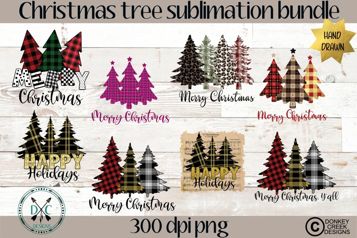 Plaid Christmas PNG Bundle- Hand Drawn Christmas Trees