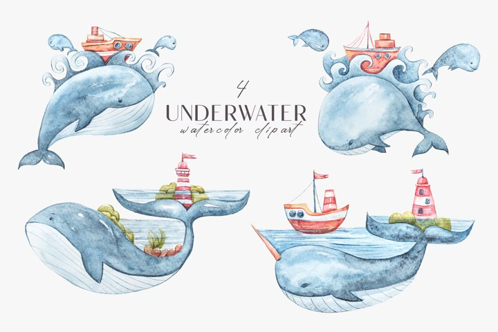 Whale clipart. Watercolor nursery whales illustration