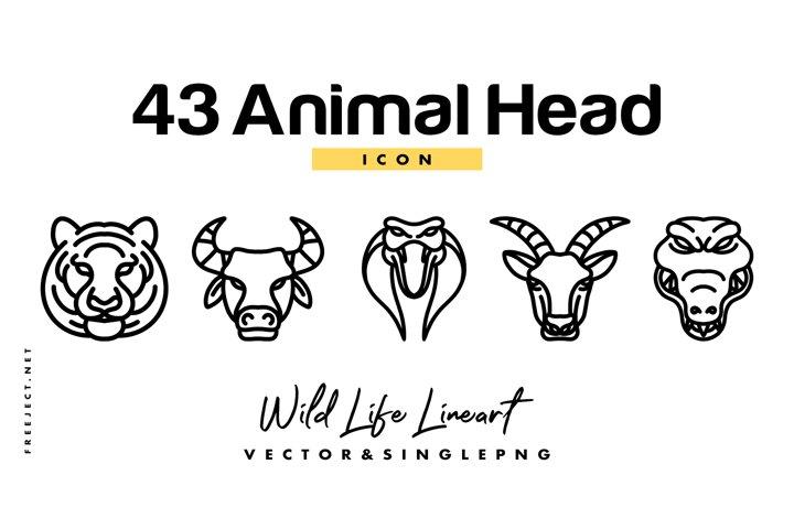 43 Animal Head Icon Hand Drawn Vector