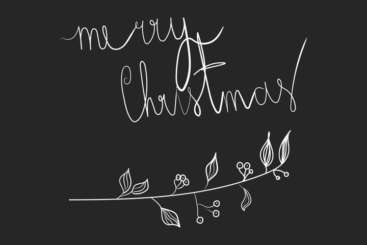 Marry christmas doodle branch in hand drawn style.