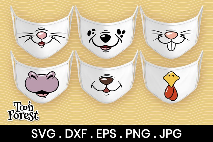 6 Cute animals SVG, DXF, EPS, PNG cut files for face mask