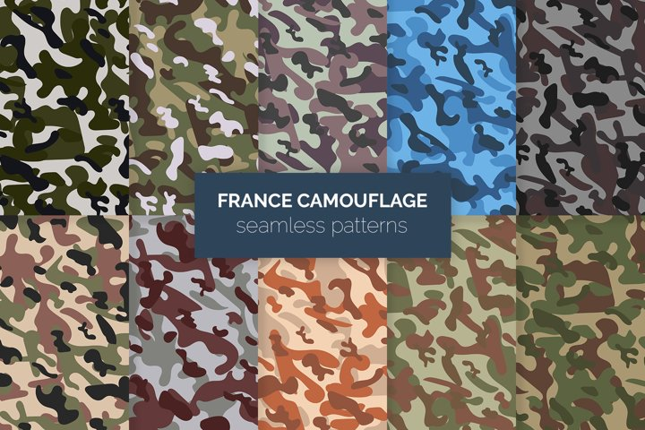 France Camouflage Seamless Patterns