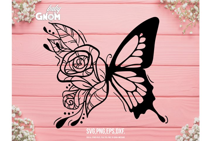 Floral Butterfly SVG, Flowers and Butterfly svg, Butterfly s