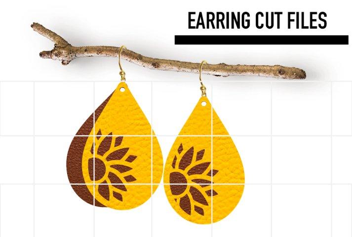 Sunflower Earrings Svg Template