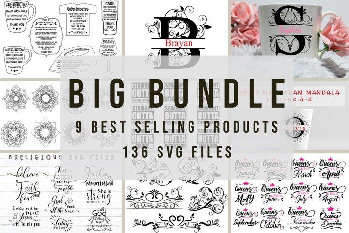 Big Svg Bundle   Monogram Svg   Care Instructions  