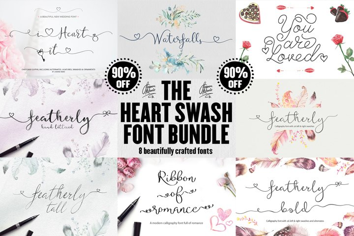 The Heart Swash Font Bundle