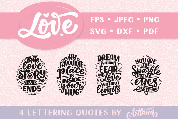Lettering Quotes about Love SVG
