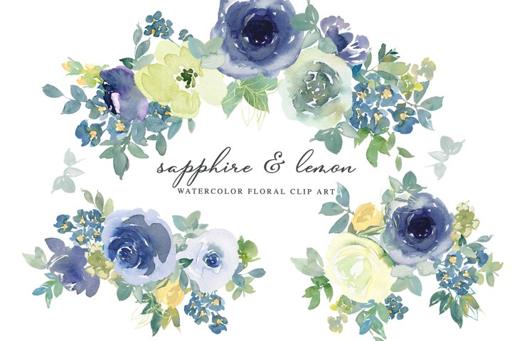Sapphire Lemon Watercolor Floral Clipart Set