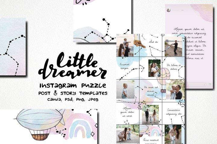 Little dreamer watercolor instagram puzzle template