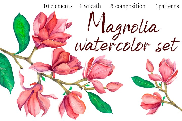 Watercolor Magnolia Flowers Clipart