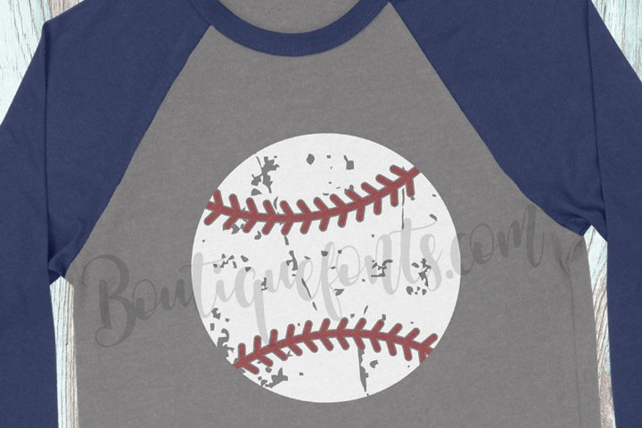 Distressed Baseball SVG