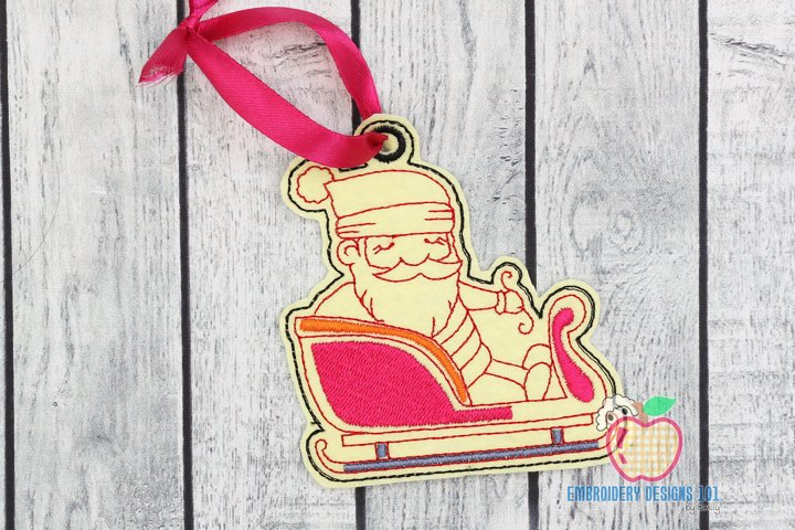 Santa Riding His Sleigh Ornament Embroidery