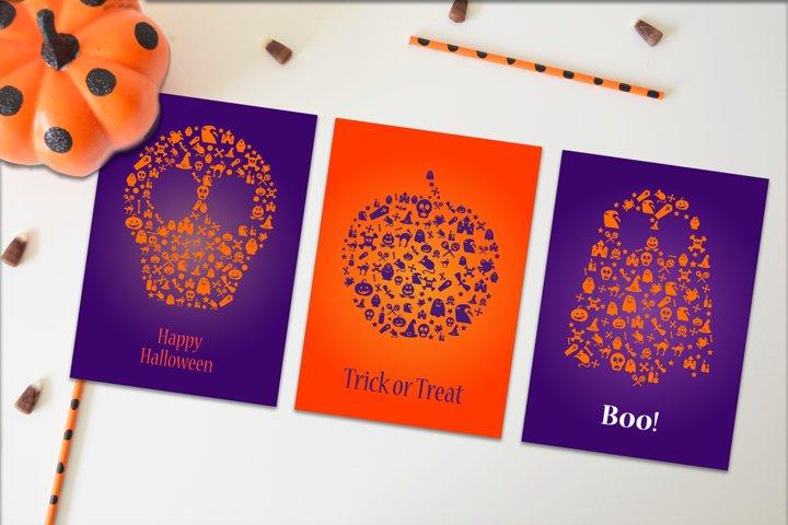 Happy Halloween Silhouette Banners Set