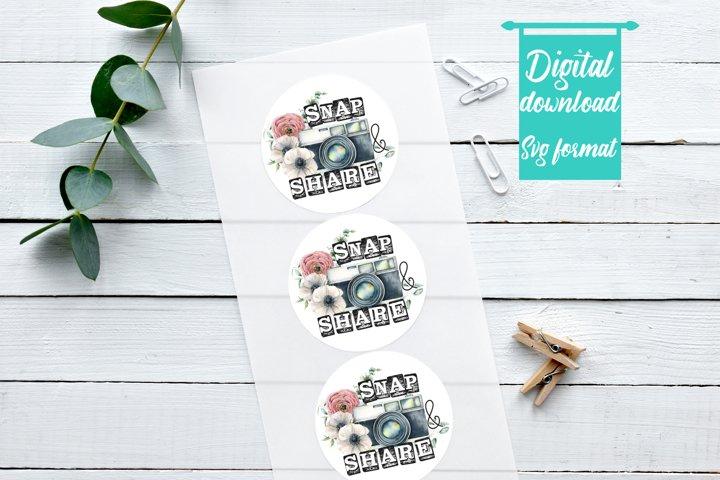 Snap and Share Sticker / Round Sticker