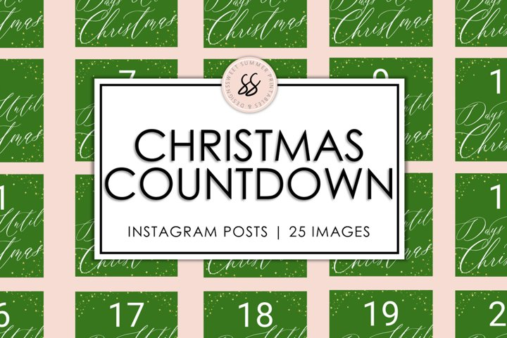 Christmas Countdown Green & Gold Instagram Posts