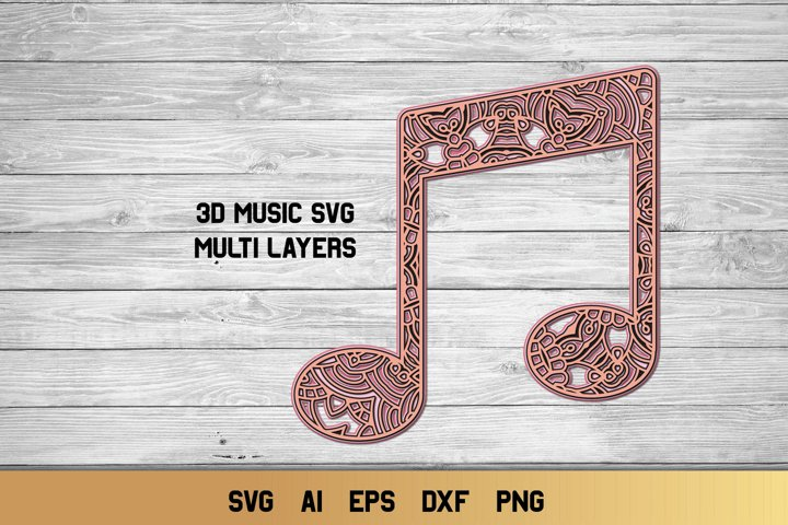 3d Layered Music Note| Multi Layer Music Sign SVG Cut File