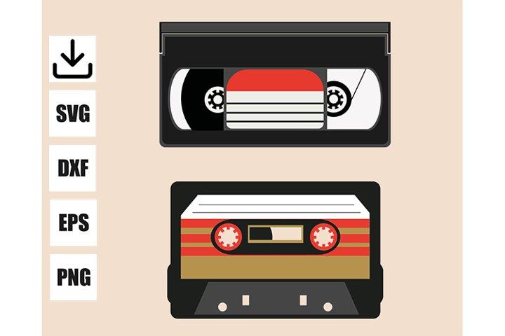 Vintage cassette VHS and audio